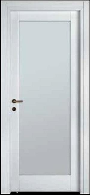 Porte interne.  mod. F1V ( telaio in legno di abete e coprifili in Hdf )