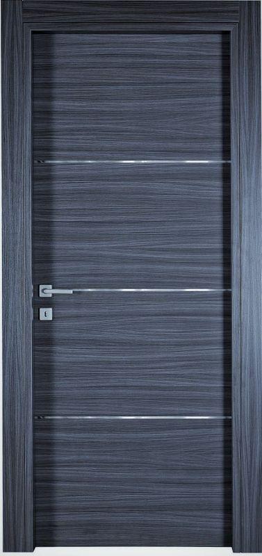 Porte interne in laminato mod. Top con 3 inserti in alluminio ( telaio in legno di abete e coprifili in hdf )