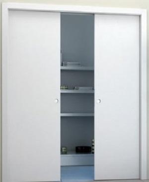 Porta scorrevole interno muro, Mod. Base Serie 7 doppia