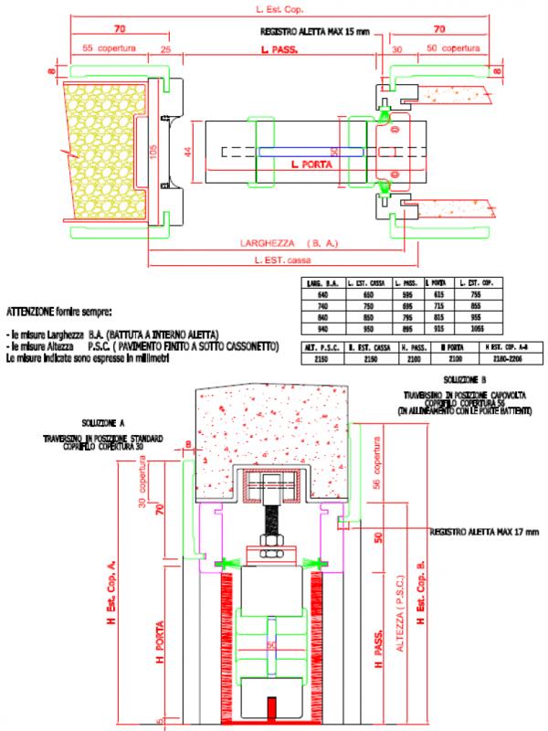 Porta scorrevole interno muro mod base serie 7 - Porte interne misure ...