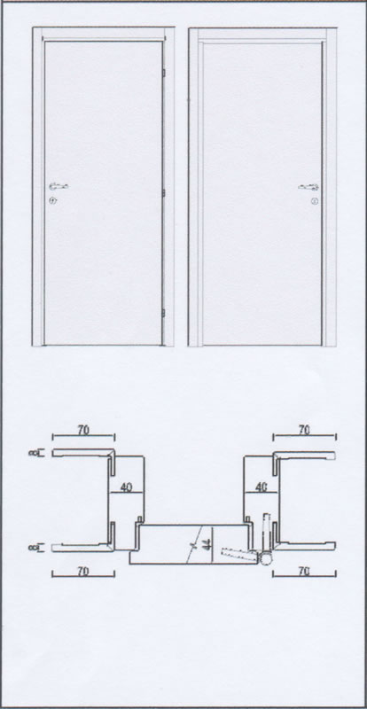 Porte interne laccate, Mod. 3B  serie 70