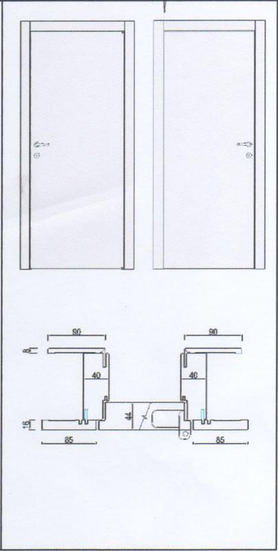 Porte interne in laminatino, Modello Base Serie Complanare